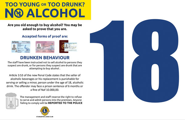 St Martin News Network Drinking Age Limit Signage Placed In - Alcohol age limit
