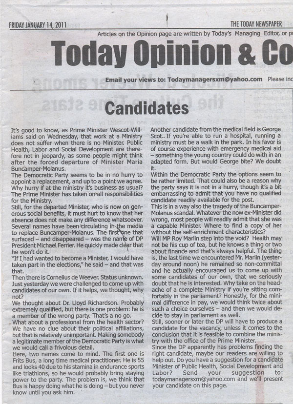 todaynewspapercandidates14012011
