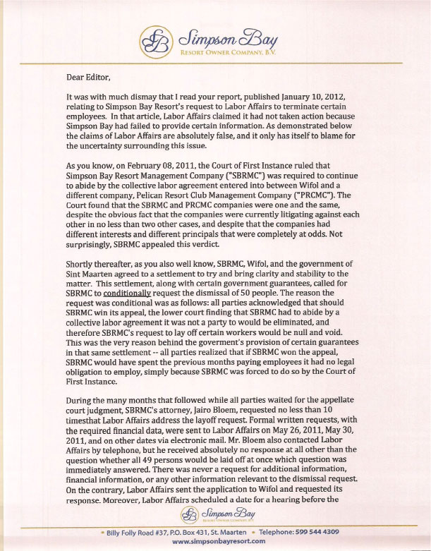 St martin news network st martin news network letter to the editor from the simpson bay resort management company sbrmc fandeluxe Choice Image